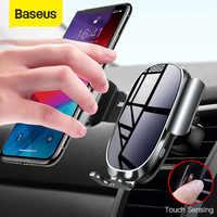 Baseus titular do telefone do carro elétrico para o iphone 11 samsung montagem de ventilação ar inteligente sensor toque suporte do telefone móvel