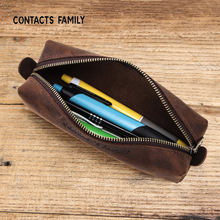 Crazy Horse Leather Pencil Case Handmade Vintage Pencil Bag For School Office Boys Girls Stationary Pouch Travel Collection Gift gravity falls reel scroll style pencil stationary storage wallet bag boys girls gift