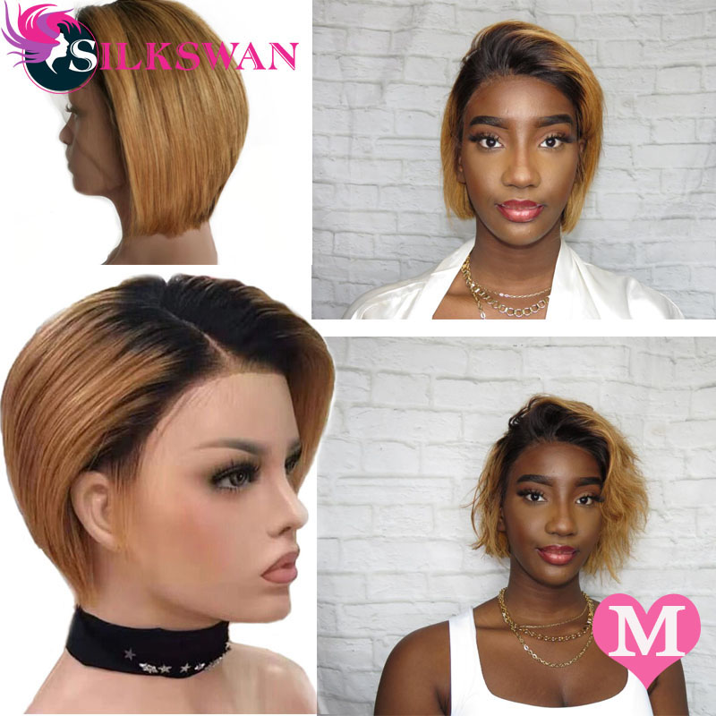 Silkswan Short Pixie Cut Wigs Brazilian Human Remy Hair Customized 150% 13*4 Lace Front Wig 1b/27 For Black Women Side Part