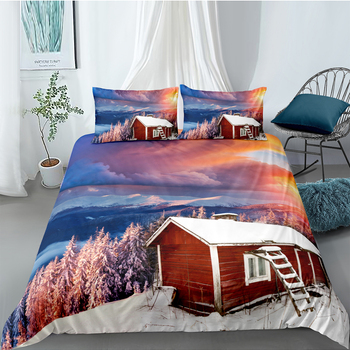 Lake House Bedding Set Reeds Beautiful Fresh Duvet Cover 3D Sunset Queen King Twin Full Single Double Unique Design Bed Set