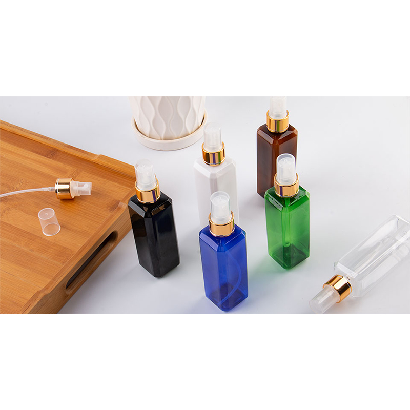 100ml Transparent Square Empty Plastic Bottles Gold Aluminum Sprayer 100cc Cosmetic Containers Perfume Bottle With Spray Pump-4