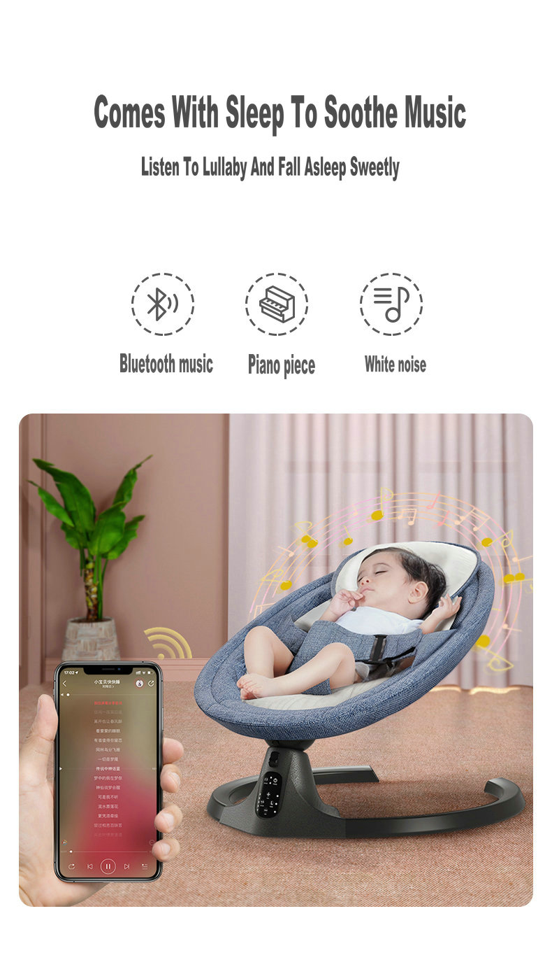 Hd10e9f9bdc0140a1845aa501e986bf5bM Baby Swing Multifunctional Aluminum Alloy Baby Rocking Chair Electric Baby Cradle With Remote Control Cradle Rocking Chair