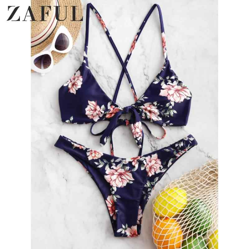 ZAFUL Criss Cross Knotted Flower Bikini Swimsuit Hot Sale Spaghetti Straps Floral Wire Free Padded Bikini Fashion 2019