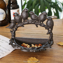 European Retro Six Bird Shape Cast Iron Crafts Storage Box Ornaments Bird Food Bowl Key Box Home Garden Wall Hanging Jeans