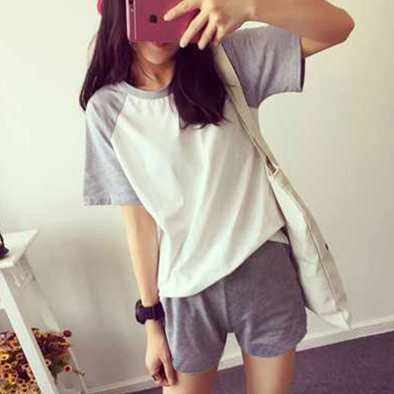 Hot Sales Joint Pajamas Women's Summer Thin Section Short Sleeve Shorts Women's Home Wear Large Size Gray Leisure Sports Suit