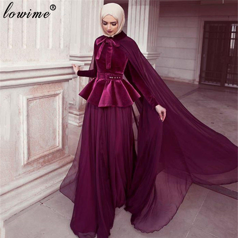 Muslim Couture Burgundy Evening Dresses Formal Arabic Prom Dresses Woman Party Night Long Sleeves Gowns With Cape Velvet Vestido