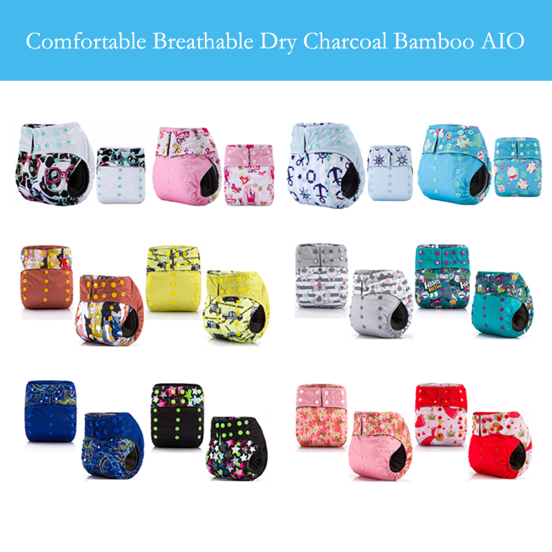 JinoBaby Cloth Charcoal Bamboo Fitted Diaper Cloth Pocket Diaper Aio 10 Pieces