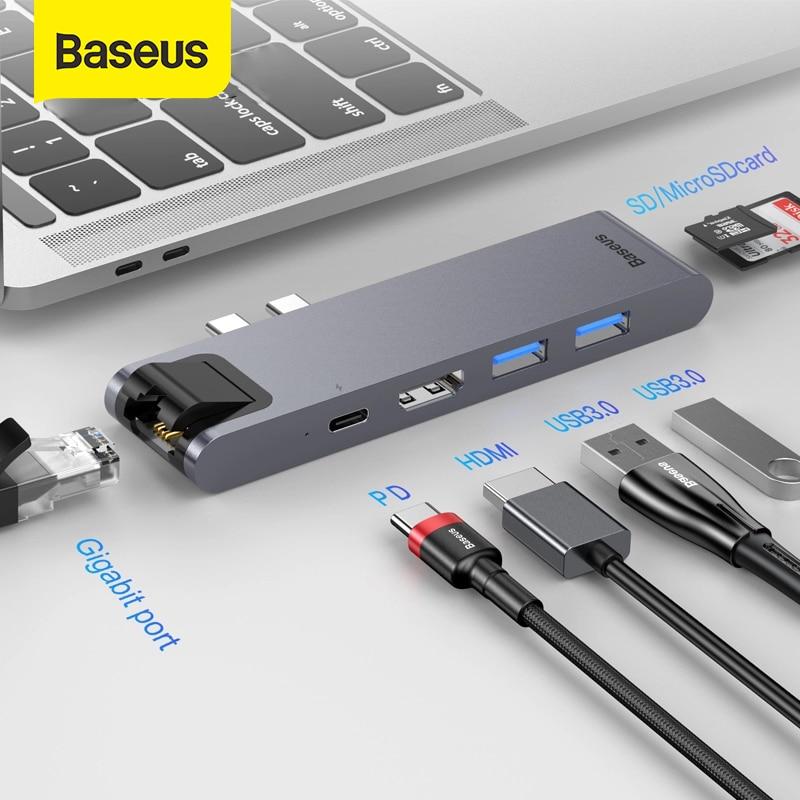 Baseus USB C HUB To HDMI RJ45 USB 3.0 For MacBook Pro Type C HUB For Huawei Mate 20 Pro Samsung S8 USB HUB Computer Accessories