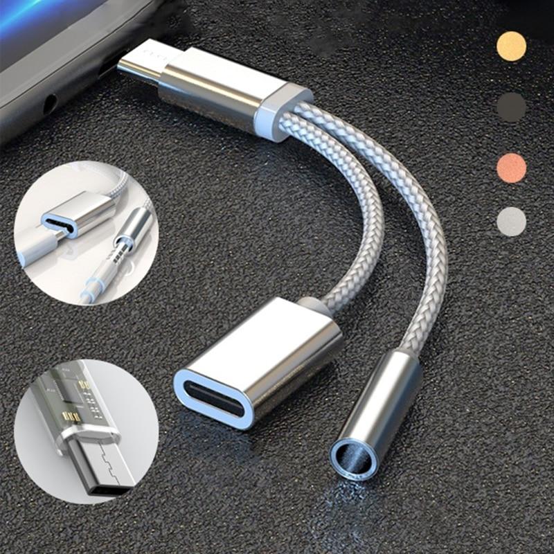 Tipo C Adaptador Adaptateur 2 em 1 Splitter Para 20 Pro Audio AUX Adaptador Para Huawei Honor P30 P20 Mate20 pro Adaptador Fone Nova5