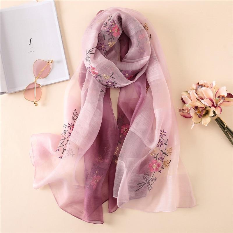 Luxury Brand Autumn And Winter Women Fashion Embroidery Flower Scarf Lady New Style Popular Silk Wool Headcloth Sunscreen Shawl