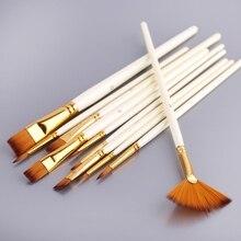 Pen-Set Painting-Brushes Acrylic Wooden-Handle Nylon-Hair 10pcs Diy-Oil