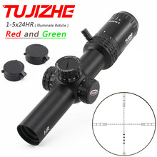 Tujizhe 1-5x24hr caça riflescope tático visão óptica compacta r & g iluminar reticle para recuo pesado. 308 30-06 cal.
