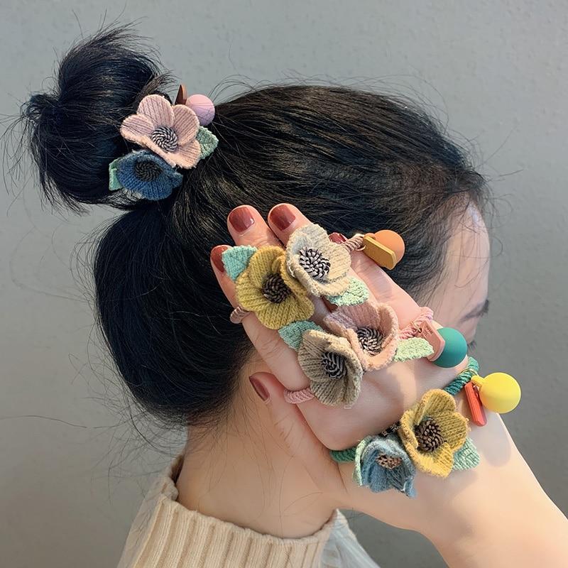 New Women Girls Knitting Wool Two Flowers Simple Elastic Hair Bands Cute Rubber Band Scrunchie Headband Fashion Hair Accessories