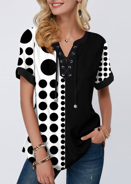 Plus Size 4xl 5x Pullovers Blouse shirt Boho Print Lace Splice Women's Tops V-neck Loose 2020 Casual Summer New Female Tee Shirt 6