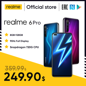 Перейти на Алиэкспресс и купить Realme 6 Pro мобильный телефон 6,6 дюймов 90 Гц Дисплей 64MP Cam 8 ГБ 128 Snapdragon 720G смартфон мобильный телефон Android телефона телефоны