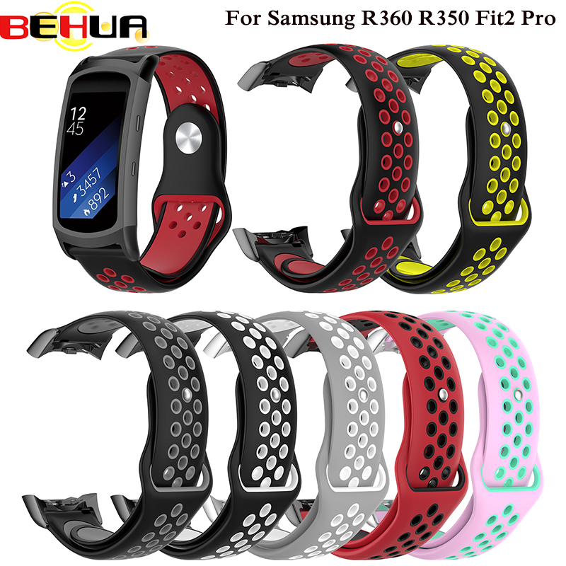Double Color Silicone Strap For Samsung Gear Fit 2 Fit2 Pro SM-R360 SM R350 Sport Band Replacement Bracelet Watchband Wristband