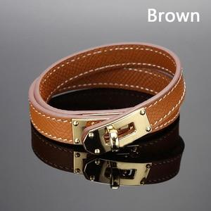 Image 3 - Quente marca de aço inoxidável dupla camada pulseira azul amarelo vermelho verde cor real couro do couro pulseiras para as mulheres (dj1312)