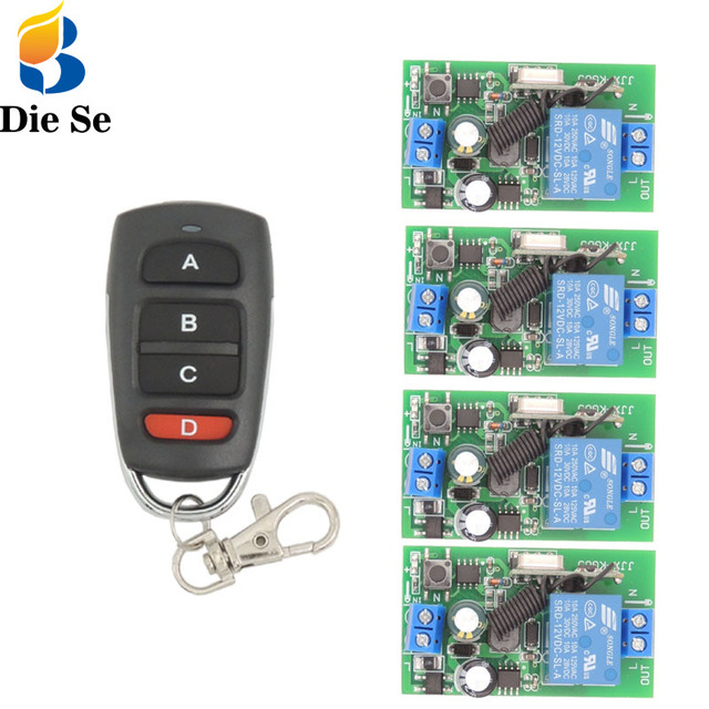 433 Mhz Rf Afstandsbediening Ac 220V 10A 1CH Relais Ontvanger Voor Universele Garage/Deur/Light/led/Boer/Motor/Signaaloverdracht