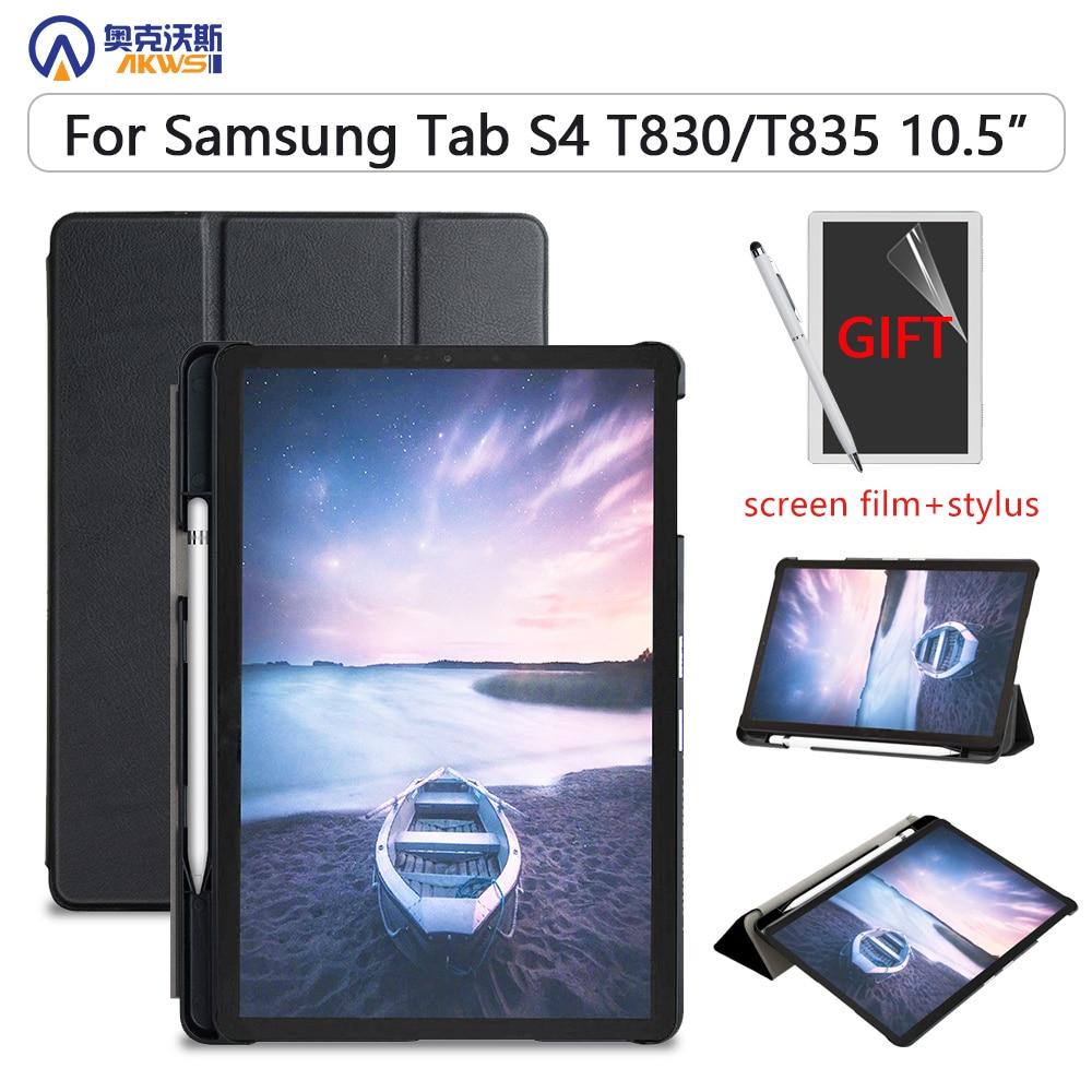 Тонкий чехол Walkers для Samsung Galaxy Tab S4 T830 T835 SM-T835 SM-T835 10,5 планшет (2018 выпущен) защитная кожа + стилус + пленка