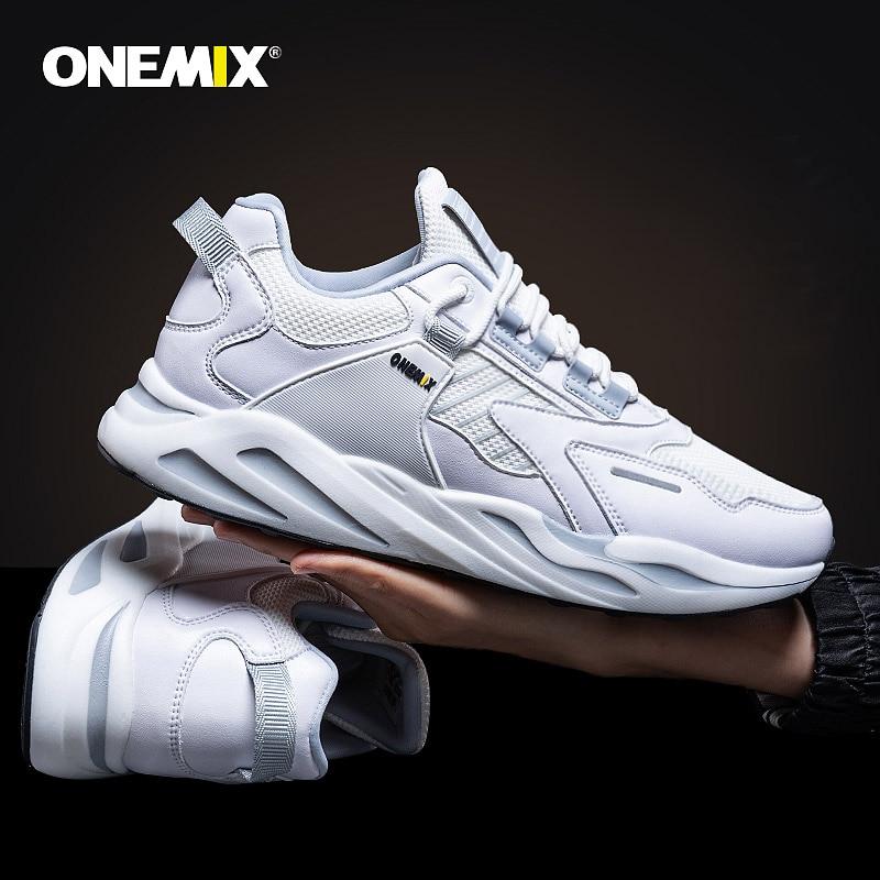 ONEMIX New Men Retro Running Shoes White Casual Vintage Sneakers Men Outdoor Training Chaussures De Sport Homme Walking Shoes