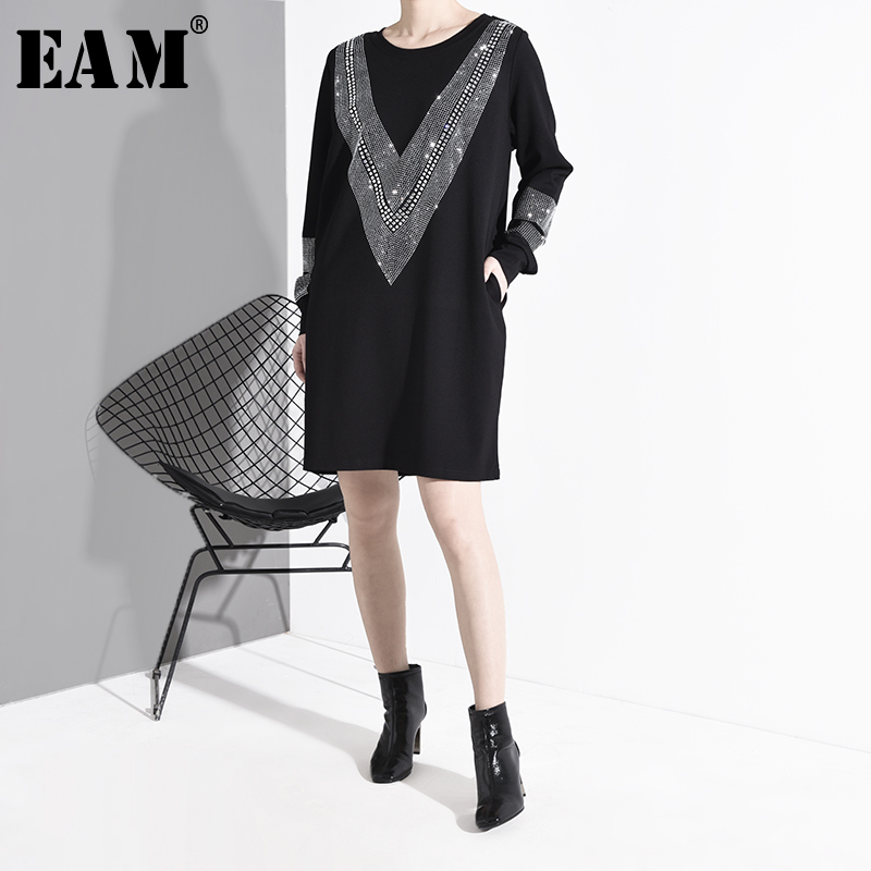 [EAM] Women Black Rhinestone Stitch Big Szie Dress New Round Neck Long Sleeve Loose Fit Fashion Tide Spring Autumn 2020 JC33201