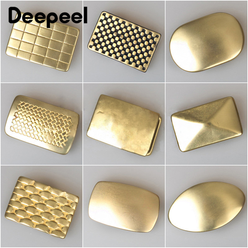 Deepeel 1PC 3.5/4cm Brass Belt Buckle Grid Pattern Gold Copper Metal Pin Buckles DIY Belts Accessories For Trousers/pants ZK832