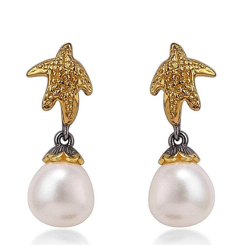 Dame boucle d'oreille véritable Baroque perle 925 en argent Sterling fête de mariage bijoux femmes fille incrusté boucles d'oreilles