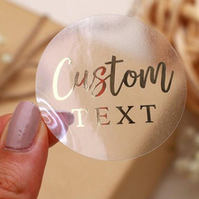 Stickers Labels Clear Business-Logo Rose-Gold Customize Transparent Silver Wedding Personalized