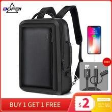 BOPAI 확대 도난 방지 노트북 배낭 USB 외부 충전 16 인치 다기능 배낭 가방 여행 가방 남자 학교 청소년