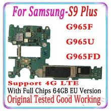 128GB Original Entsperrt Motherboard Für Samsung Galaxy S9 Plus G965F G965FD S9 G960F G960FD G960U 64GB Logic Board mainboard