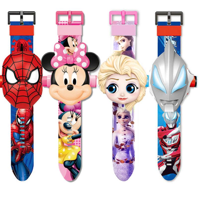 Children Watch The 3D Projection Cartoon Ultraman Spiderman Ironman Princess  Digital Watches  Kids Watches Toy