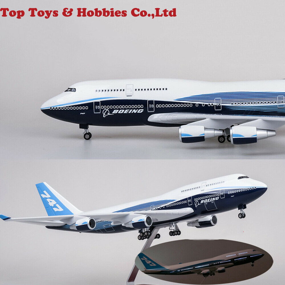 Kids Toys Diecast Airplane Aircraft 1/150 B747 Boeing 747-400 LED Light Plane Model Replica Resin 47cm Toys For Children