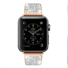Diamond Stainless steel loop strap For apple watch band 38/42mm Metal Bracelet for 4 44/40mm bands iwatch 3/2/1