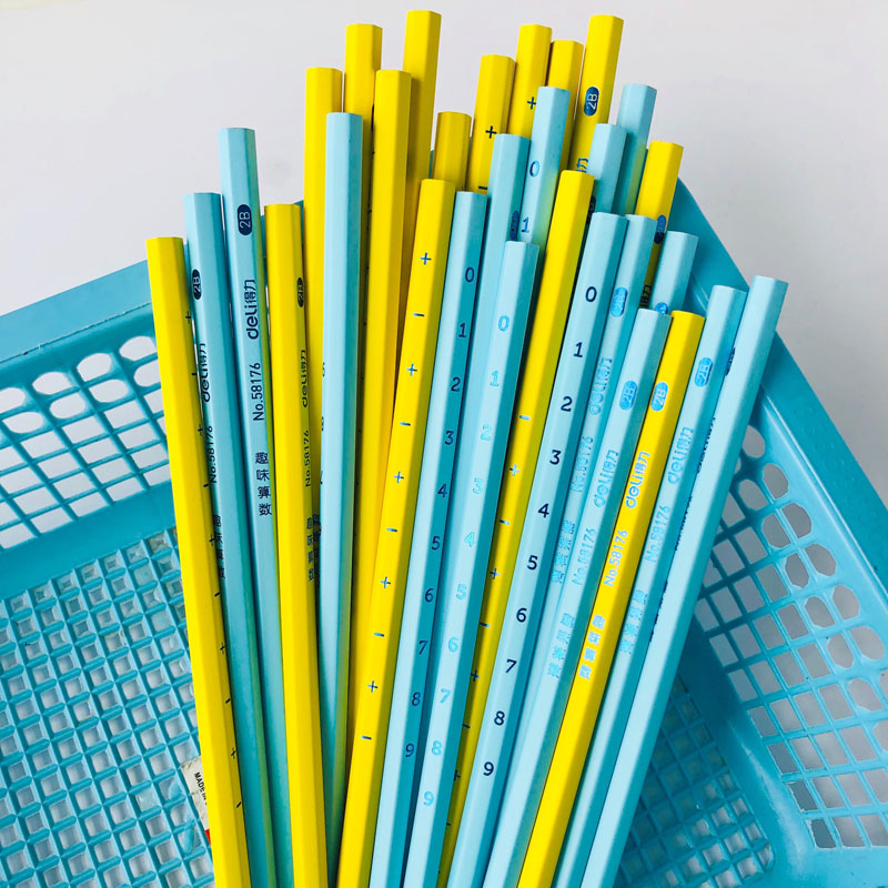 3X Simple Yellow Blue Numbers & Plus Minus Sign 2B Standard Wooden Pencils Stationery