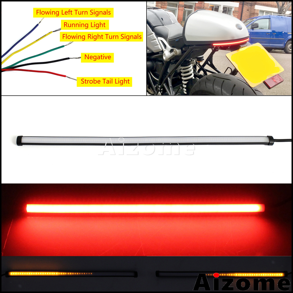45cm Flexible Motorcycle Brake Tail Lights LED Strip Sequential Switchback Strobe Stop Taillight w  Flowing Turn Signals Light