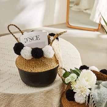 Kosze do przechowywania kosze do trawy morskiej wiklina wieszana doniczka kosze do przechowywania kwiatowa domowa doniczka panier osier kosz na zabawki tanie i dobre opinie CN (pochodzenie) Porządkowanie Przechowywanie Wikliny 22x20 Ekologiczne Storage Baskets Flower Wicker straw laundry basket