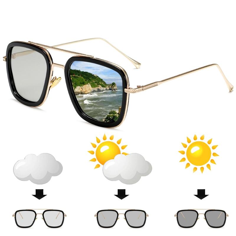 Polarized Photochromic Sun Glassses Men Tony Stark Iron Man Sunglasses Vintage Women Chameleon Glasses Free shipping for Brazil