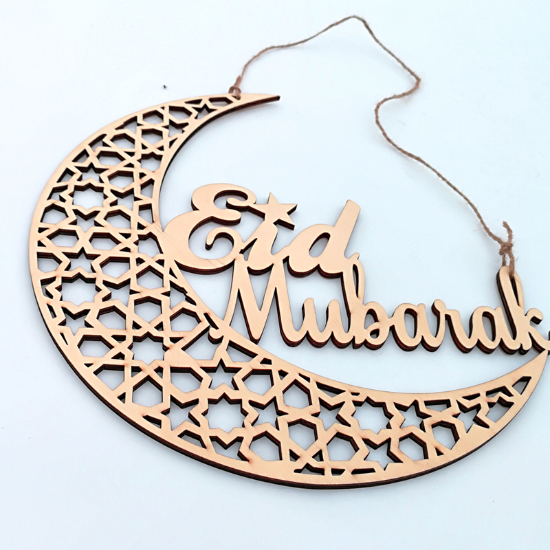 Ramadan Decoration Eid Mubarak Hanging Pendant Hollow Moon Shape Wooden Home Decoration for Islam Muslim Party Decor