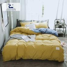 Liv-Esthete Luxury Yellow Blue Bedding Set Soft Printed Duvet Cover Flat Sheet Double Queen King Bed Linen Quilt