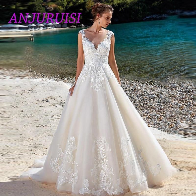 ANJURUISI élégant dentelle robes de mariée 2019 Cap manches Appliques Illusion retour Sexy de mariée robes de mariée plage d'été porter