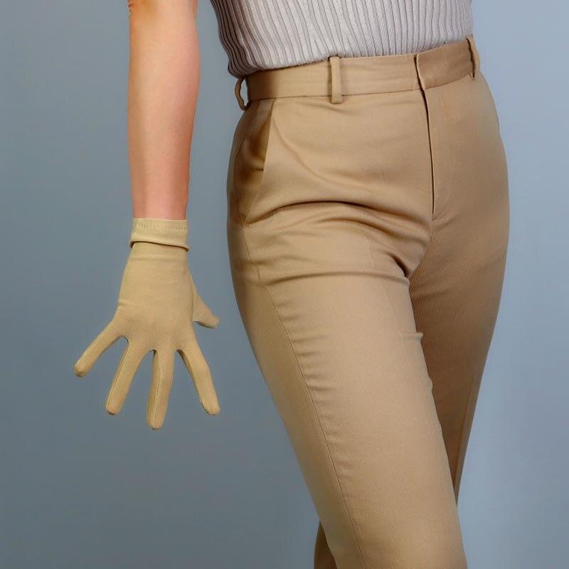 Champange Ladies Spandex Green Finger Gloves Elegant Short Gloves Courtesy Summer Gloves For Wedding Dinner Parties Gants