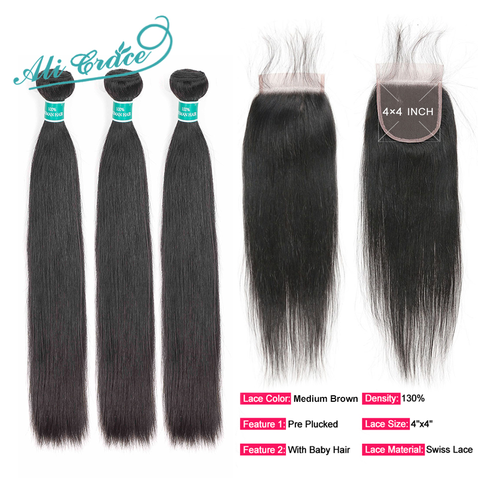 Hd11106743cf9498eb5156c17ab20d915N Ali Grace Hair Brazilian Straight Hair Bundles With Closure 4*4 Middle Free Part 2 Option 100% Remy Human Hair With Closure