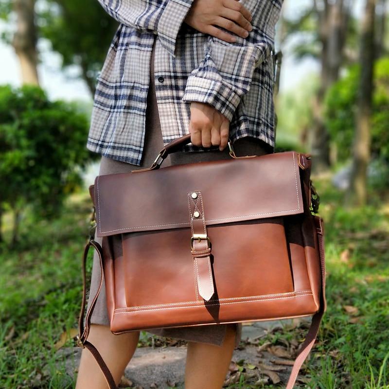 Retro Women Bag Horizontal Literary Office Handbag Multifunction 14