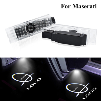 LED Welcome Light Car Door HD Logo Projectors 6000K Shadow Lamp For Maserati Quattroporte Levante Ghibli GranTurismo GranCabrio image