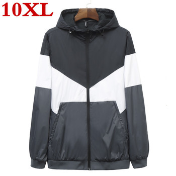 Spring and autumn new men's jacket fashion hooded jacket with print Casual shirt for young men plus size 10XL  9XL men clothing