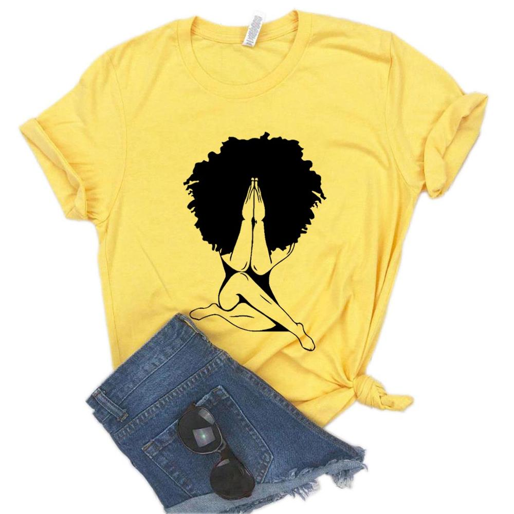 Afro Woman Praying Print Women Tshirt Cotton Casual Funny T Shirt For Yong Lady Girl Top Tee 6 Colors Drop Ship NA-459