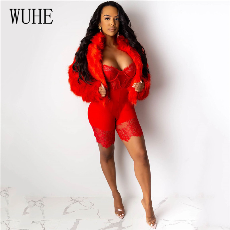 Hd111491e71094923b675ce460f7c2adaX - WUHE Lace Patchwork Sexy Spaghetti Strap Jumpsuits Women Off Shoulder Sleeveless Elegant Bodycon Bandage Party Short Playsuits