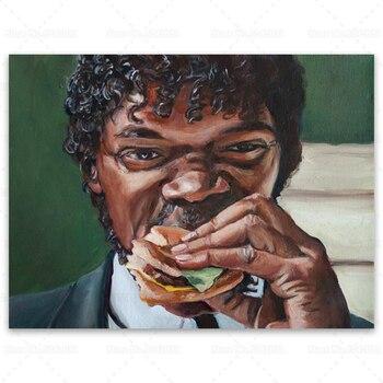 Jules Eats A Big Kahuna Burger Pulp Fiction Wall Art Printed on Canvas 3