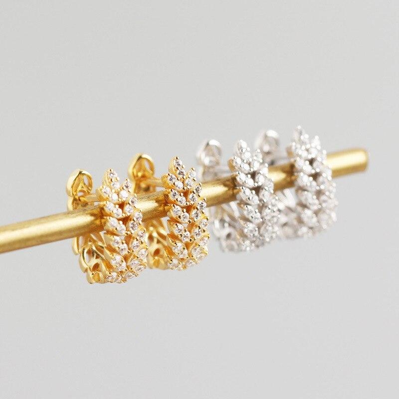 ANENJERY 925 en argent Sterling feuilles boucles d'oreilles pour les femmes français exquis élégant oreille bijoux S-E1377 2