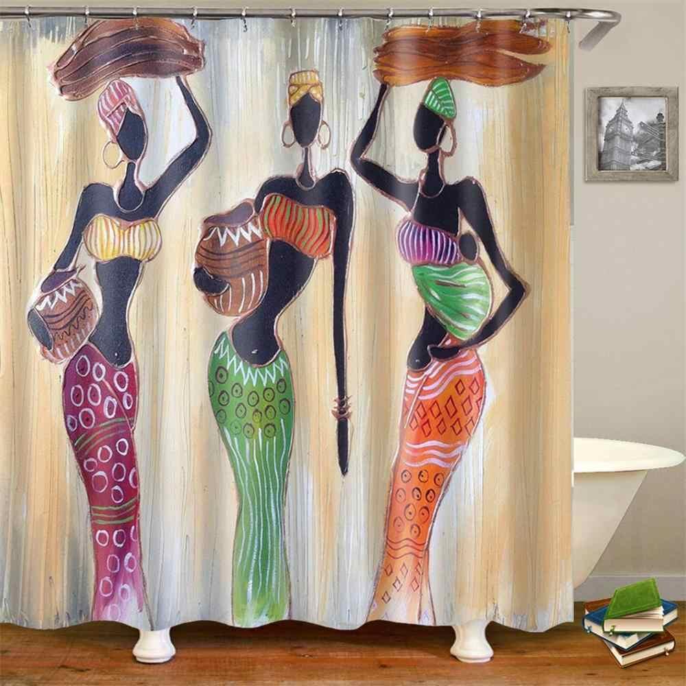 Afrykańskie kobiety zasłona prysznicowa American Women czarna tkanina odzież przeciwdeszczowa dziewczyny wodoodporna tkanina poliestrowa kurtyna łazienkowa 180x200 cm
